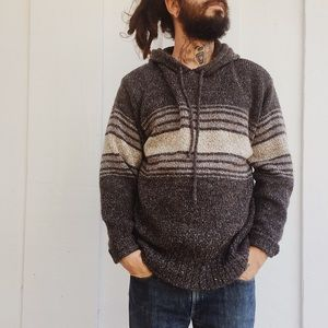 Vintage Unisex Hand Knit Pullover Hooded Sweater